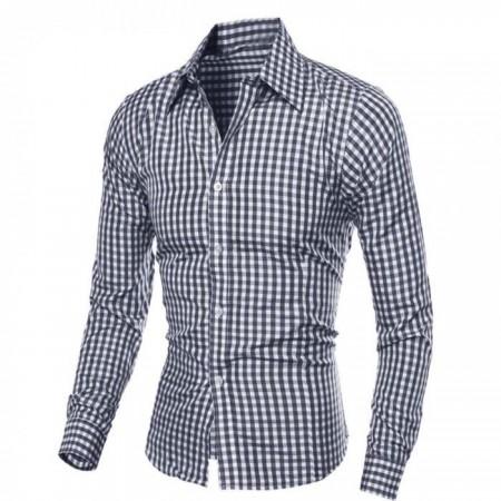 Camisa Casual Quadriculada Masculina Manga Longa