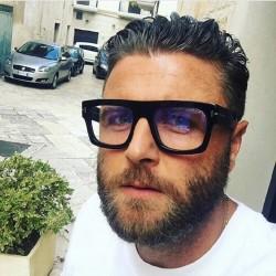 Men's Square Frame Transparent Lens