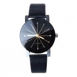 Relógio Moderno Preto Elegante Feminino Minimalista em Couro