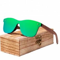 Óculos de Sol Masculino Estiloso Espelhado Armação em Madeira Lente UV