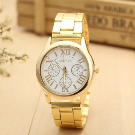 Relógio Geneva Feminino Dourado Ouro Elegante Formal em Quartzo