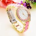 Relógio Casual Feminino com Cristais Multicolor Elegante Festa Noite
