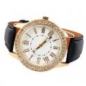 Relógio Feminino Casual Elegante com Cristais em Quartzo Dourado