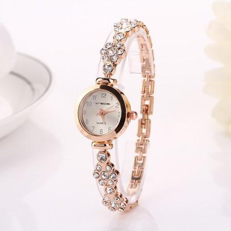 Relógio Vintage Feminino com Cristais Dourado e Prata Fino Casual