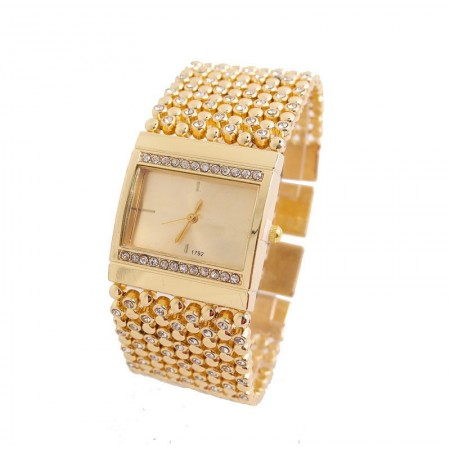 Relógio Feminino Elegante Festa Dourado com Cristais Grande