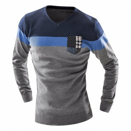 Shirt Winter Striped Men's Knitwear Long Sleeve Rasp