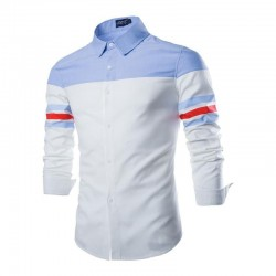 Shirt Casual Sport Patchwork Slim Fit Men's Long Sleeve