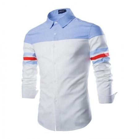 Camisa Casual Esporte Retalhos Slim Fit Masculina Manga Longa
