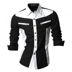 Shirt Casual Slim Fit Men's Long Sleeve Party Ride