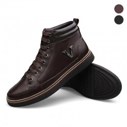 Sapatênis Male Social Boot Leather Brown and Black Cano Alto
