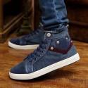 Sapatenis Bota Casual Masculino Jeans Cano Alto Tecido da Moda