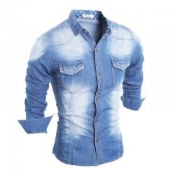 Camisa Jaqueta Casual Jeans Manga Longa Masculina Esportiva Azul