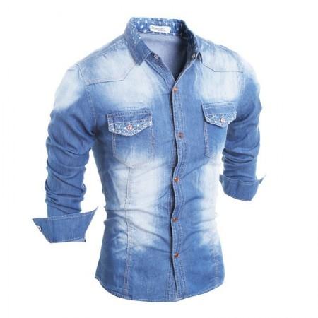 Camisa Jaqueta Casual Jeans Manga Longa Masculina Esportiva Confortável