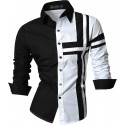 Casual Shirt Patchwork Black and White buttons Men's Long Sleeve