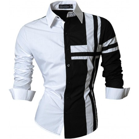Camisa Casual Retalhos Preto e Branco Botões Masculina Manga Longa