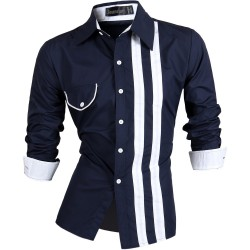 Casual Shirt Men's Slim Fit Button Striped Elegant Social