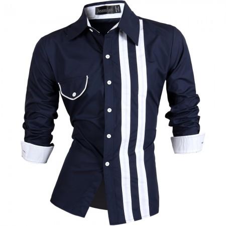 Camisa Casual Slim Fit Masculina Botões Listrado Social Elegante