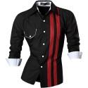 Casual Shirt Men's Slim Fit Button Striped Elegant Social