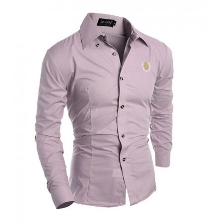 f651e683937c4 Camisa Social Lilas Masculina Slim Fit Esporte Fino Elegante Dia a Dia