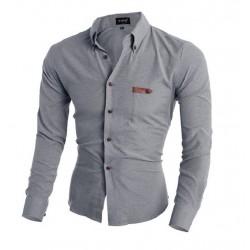 Camisa Casual Cinza Manga Longa Casaul de Botões Slim Fit Masculina