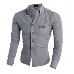 Casual Shirt Grey Long Sleeve Casaul Slim Fit Men's Buttons