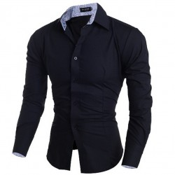 Social Shirt Navy Men's Formal Beautiful Classical
