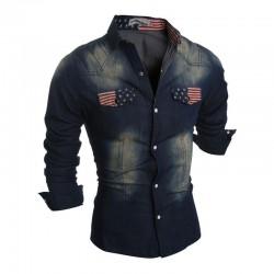 Camisa Jaqueta Casual Jeans Manga Longa Masculina Esportiva Preta