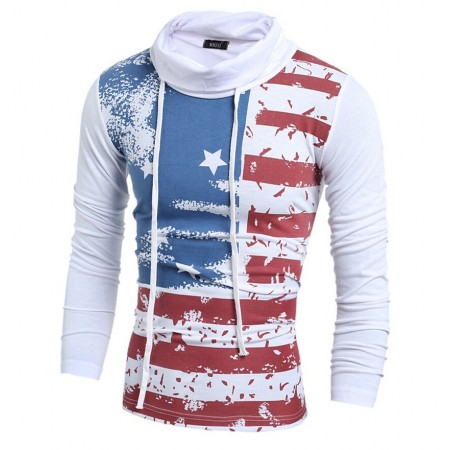 Camiseta Americana de Inverno Estampada Bandeira Masculina
