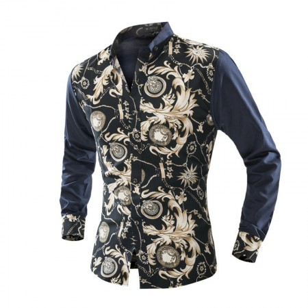Camisa Floral Vintage Masculina Azul Marinho Evento Noite