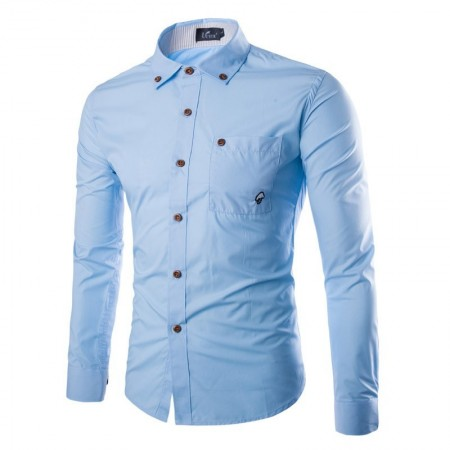 Social Men's Formal Shirt in Long Sleeve Button Light