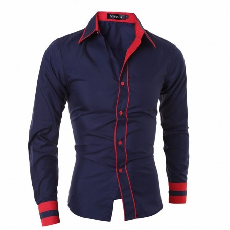 Social Party Night Shirt Men's Long Sleeve Button Slim Fit