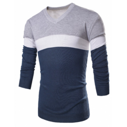 Striped Shirt Men's Winter Wool Sweatshirt Casual Pullover