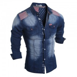 Shirt Jacket Jeans Casual Long Sleeve Men's Sport Adventure