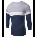 Camiseta Sueter de Inverno Listrada Masculina em Lã Pulôver Casual
