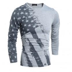 Shirt American USA Men's Long Sleeve Casual Grey Road