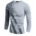 Shirt American USA Men's Long Sleeve Casual Grey Road