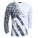 Camiseta Americana EUA Masculina Manga Longa Estrada Cinza Casual