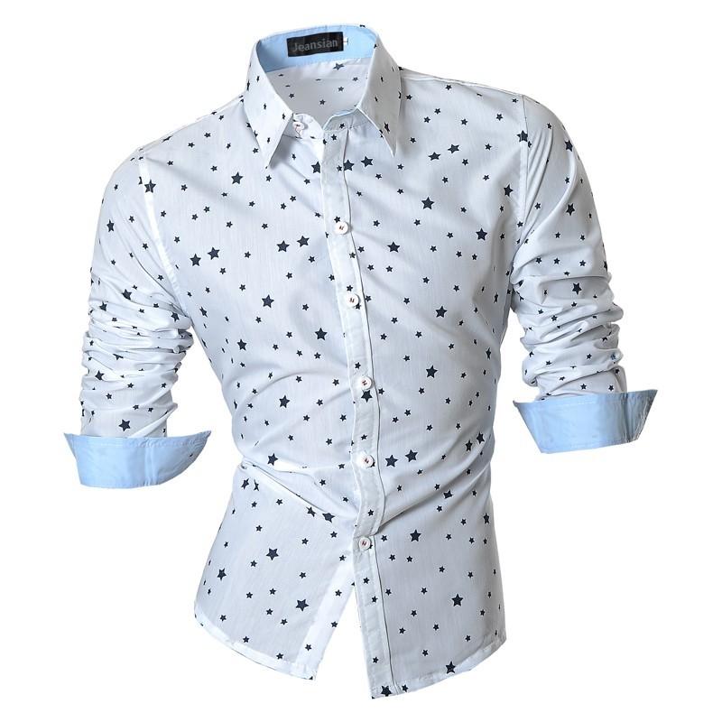 a75a4e3807 Camisa Casual Masculina Elegante em Bolinhas Manga Longa Social