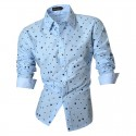 Casual Shirt Men's Stylish Polka Dot Long Sleeve Social