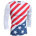 T shirt Men's American Long Sleeve Grey and White United States