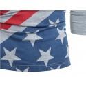 Camisa T Masculina Americana Manga Longa Cinza e Branca Estados Unidos