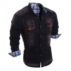 Camisa Jaqueta Casual Jeans Manga Longa Masculina Esportiva Marron