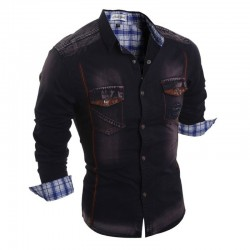 Shirt Jacket Jeans Casual Long Sleeve Men's Sport Brown