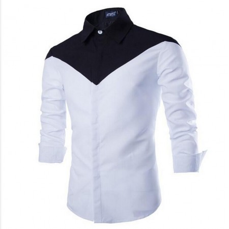 Social Men's Black Shirt and White Elegant Party Long Sleeve