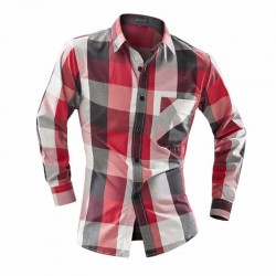 Shirt Men's Fashion Plaid Country Casual Red Party and Grey