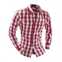 Checkered Shirt Men's Casual Fashion Elegant Party Club