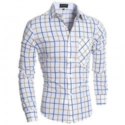 Checkered Shirt Men's Casual White Long Sleeve Stylish