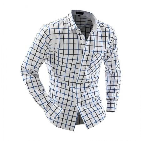 Camisa Quadriculada Casual Masculina Branca Manga Longa Elegante