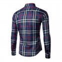 Casual Shirt Plaid Elegant Men's Long Sleeve Purple