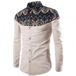 Shirt African Social Holiday Men's Long Sleeve Elegant Vintage